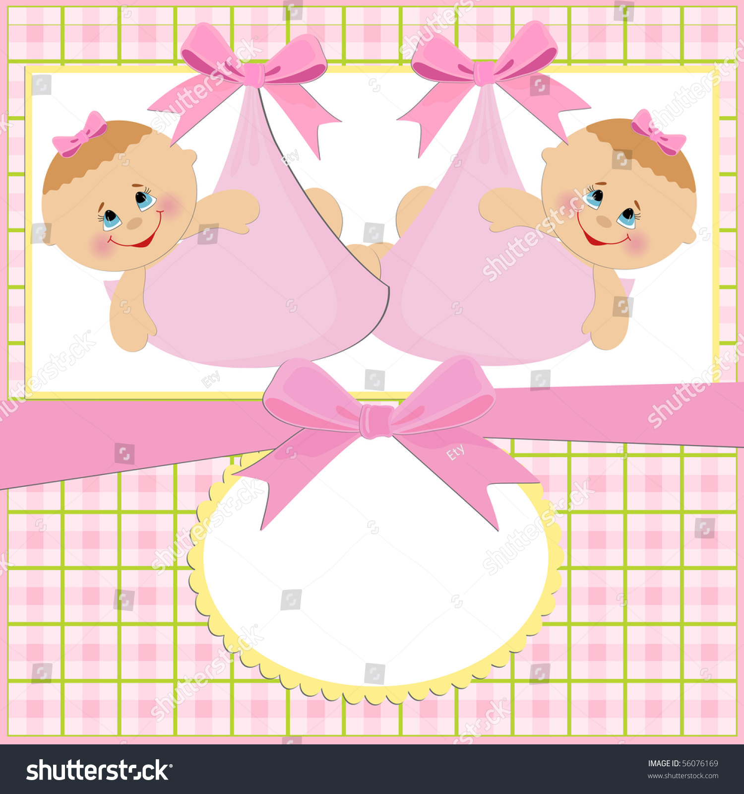 Baby Greetings Card Twins Girls Stock Illustration 56076169