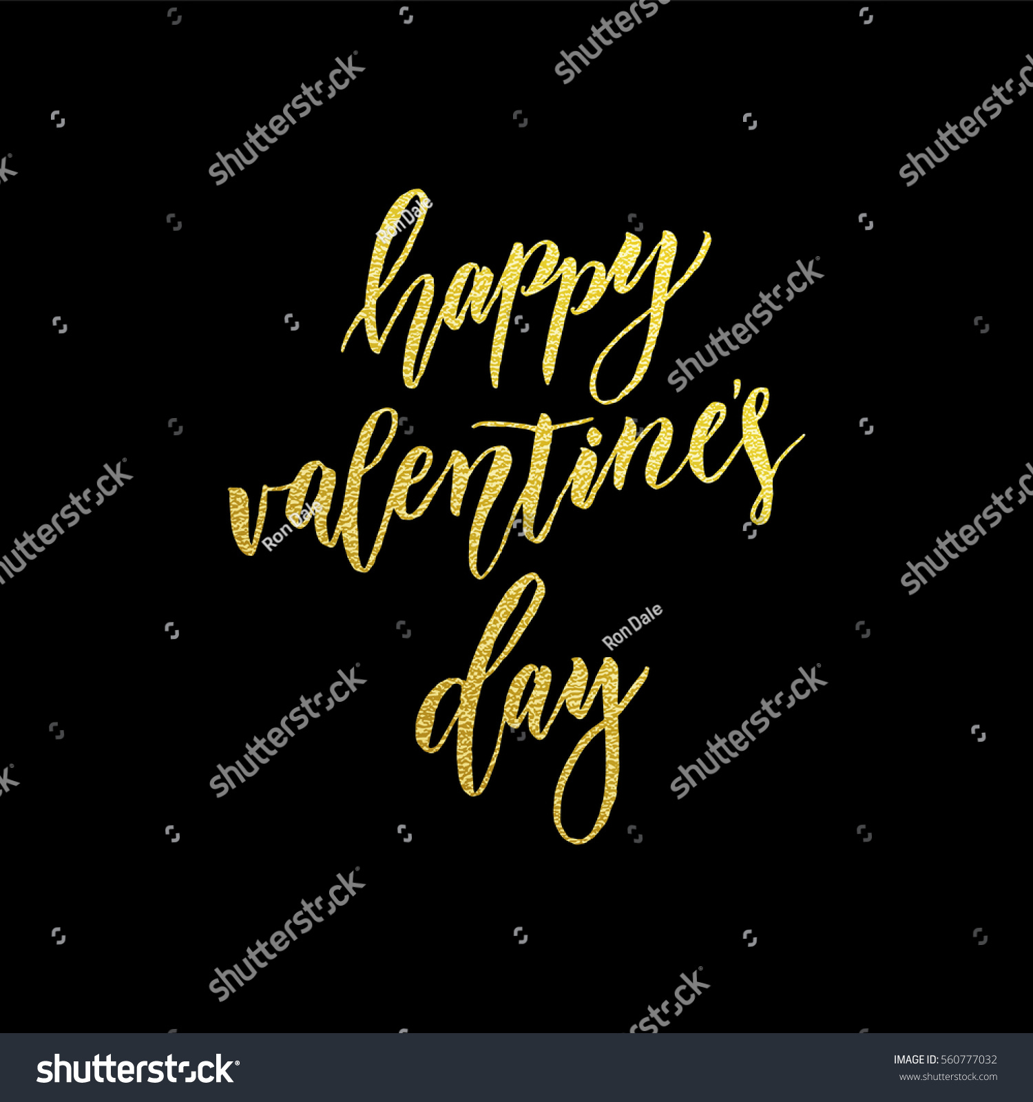 Luxury Gold Valentines Day Text Lettering For Premium Black Greeting