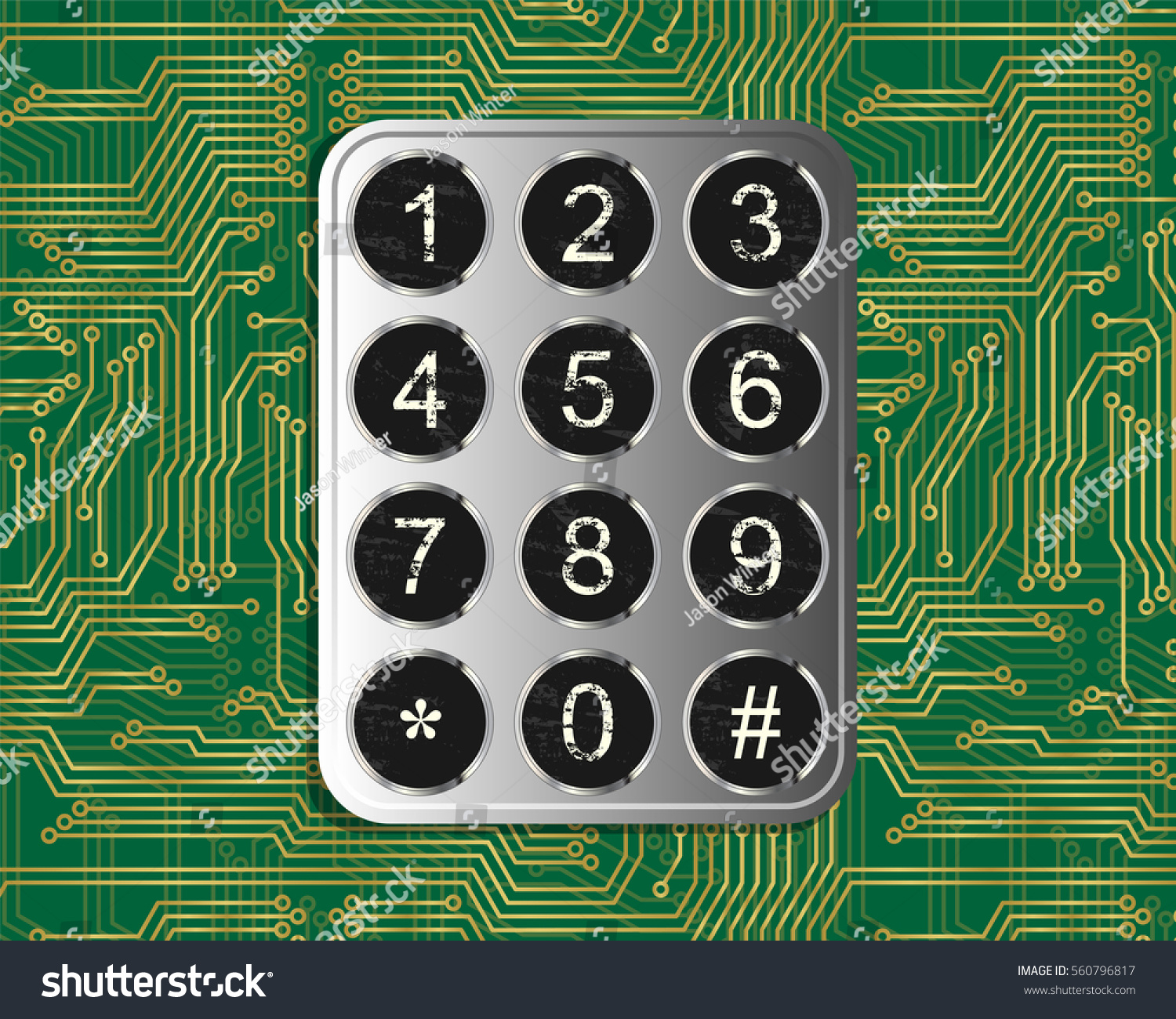 Metal Vintage Keypad On Green Circuit Stock Vector Royalty Free The Board Wall Clock Recycles Printed Boards Pcbs Background