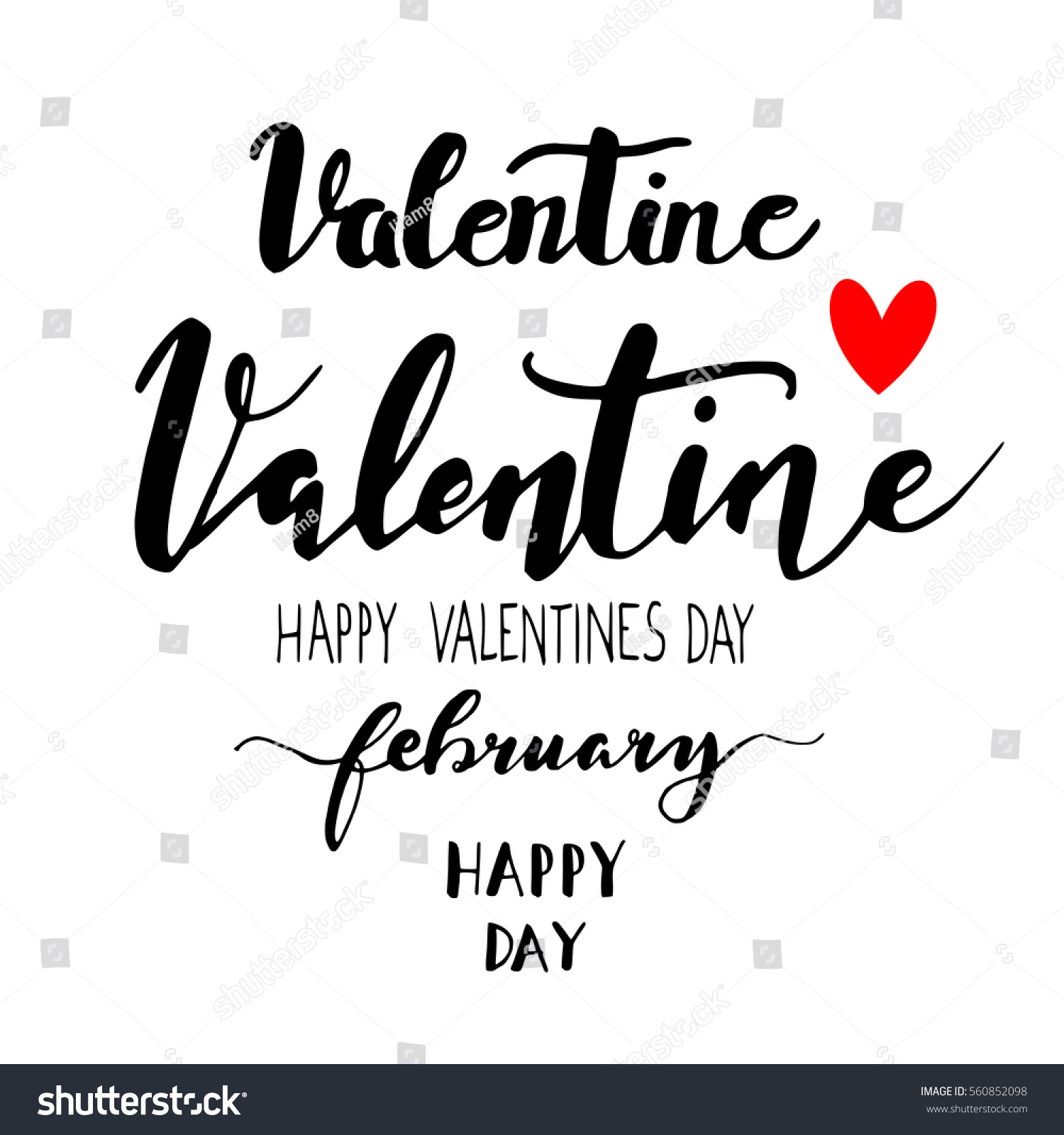 Valentines Day Signs Hand Painted Isolated Stock Vector Royalty