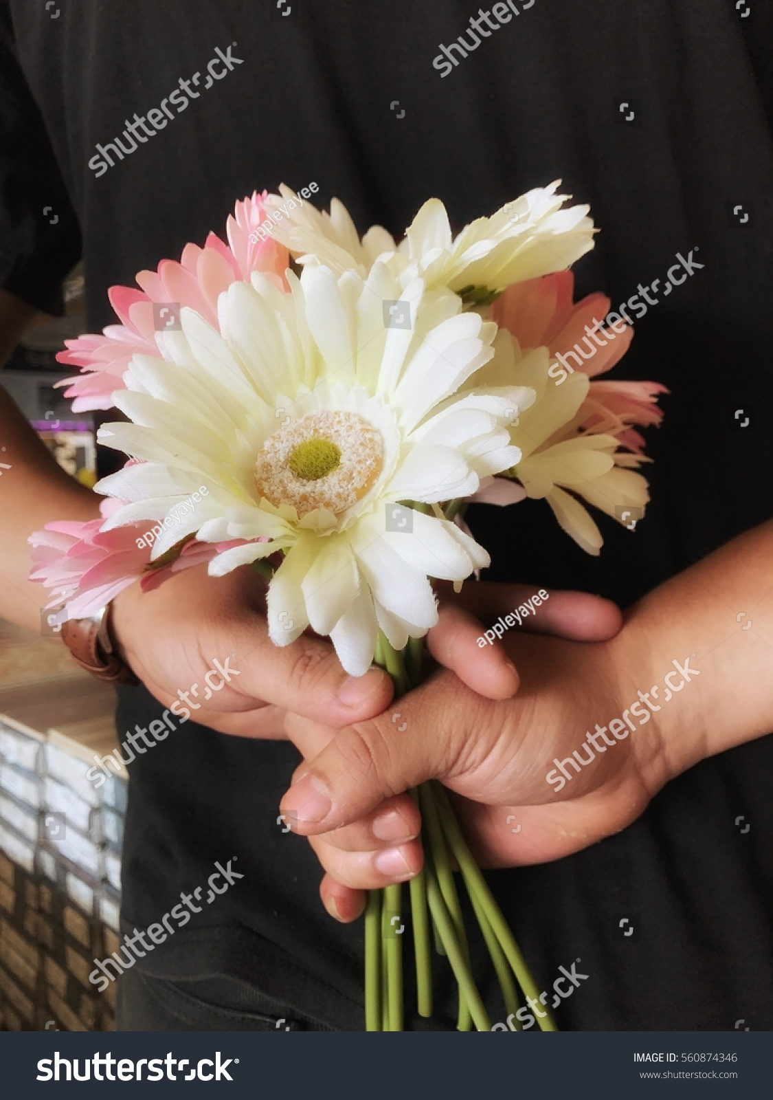 Man Keep Flowers Bouquet Behind Surprise Stock Photo Edit Now