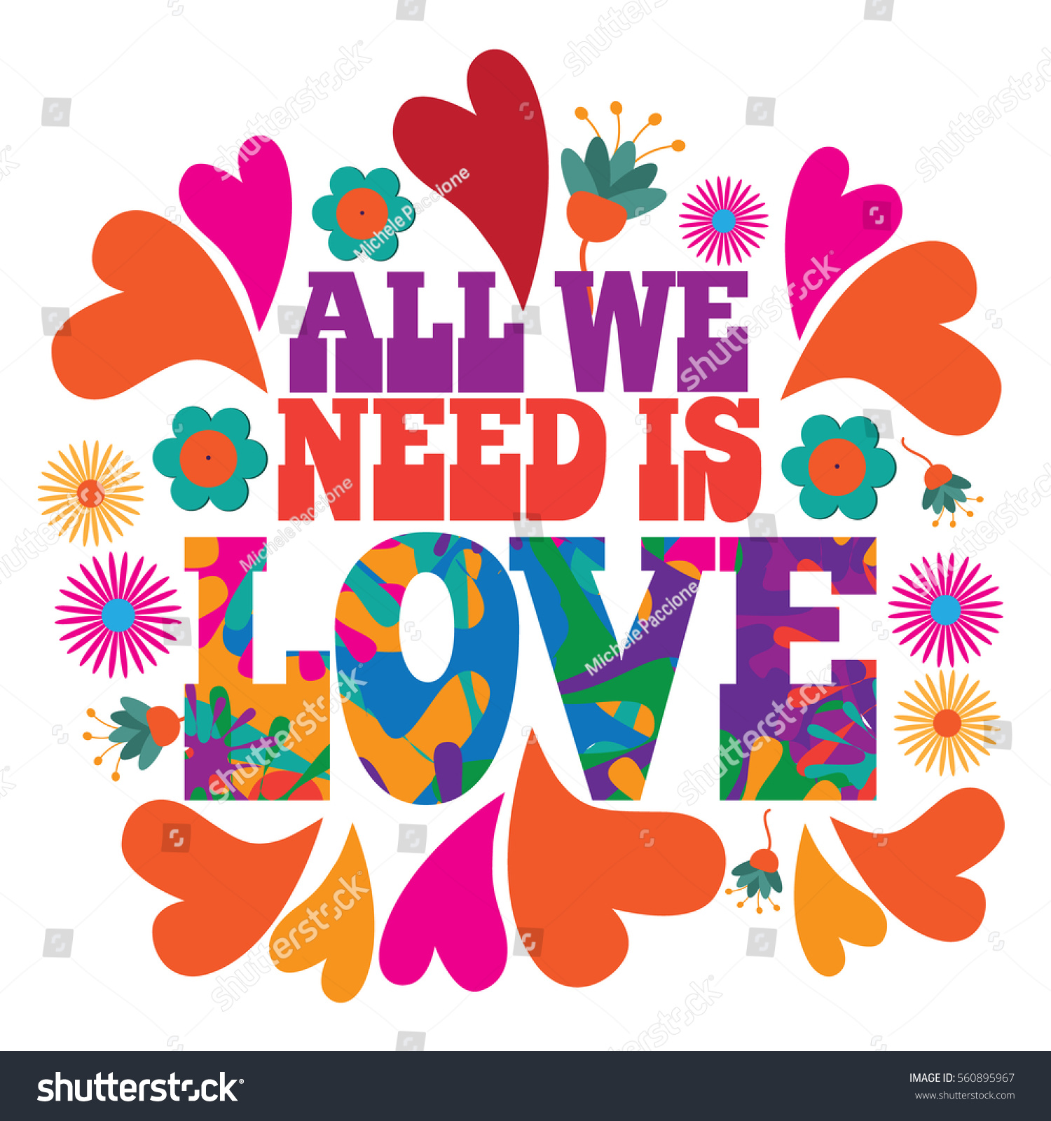 all we need love psychedelic typography のベクター画像素材
