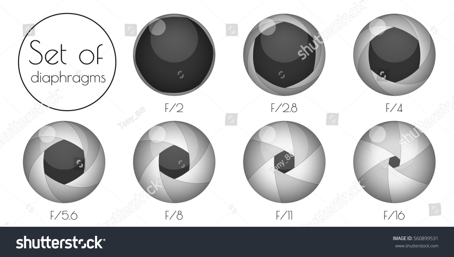 Set 3d lens aperture on white stock vector 560899531 shutterstock set the 3d lens aperture on a white background pooptronica Images