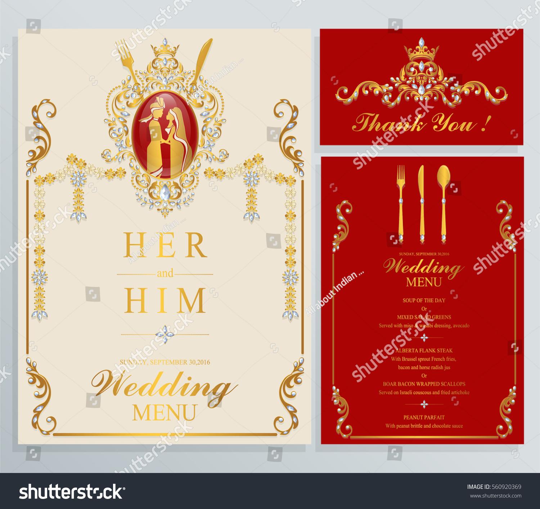 Indian Wedding Menu Card Templates Gold Vectores En Stock 560920369 ...