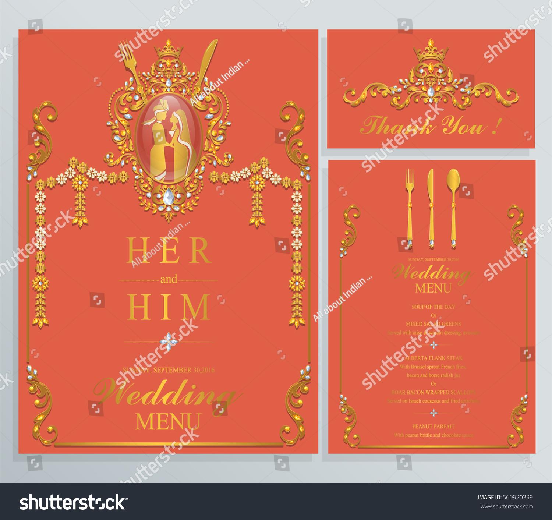 Indian Wedding Menu Card Templates Gold Stock Vector