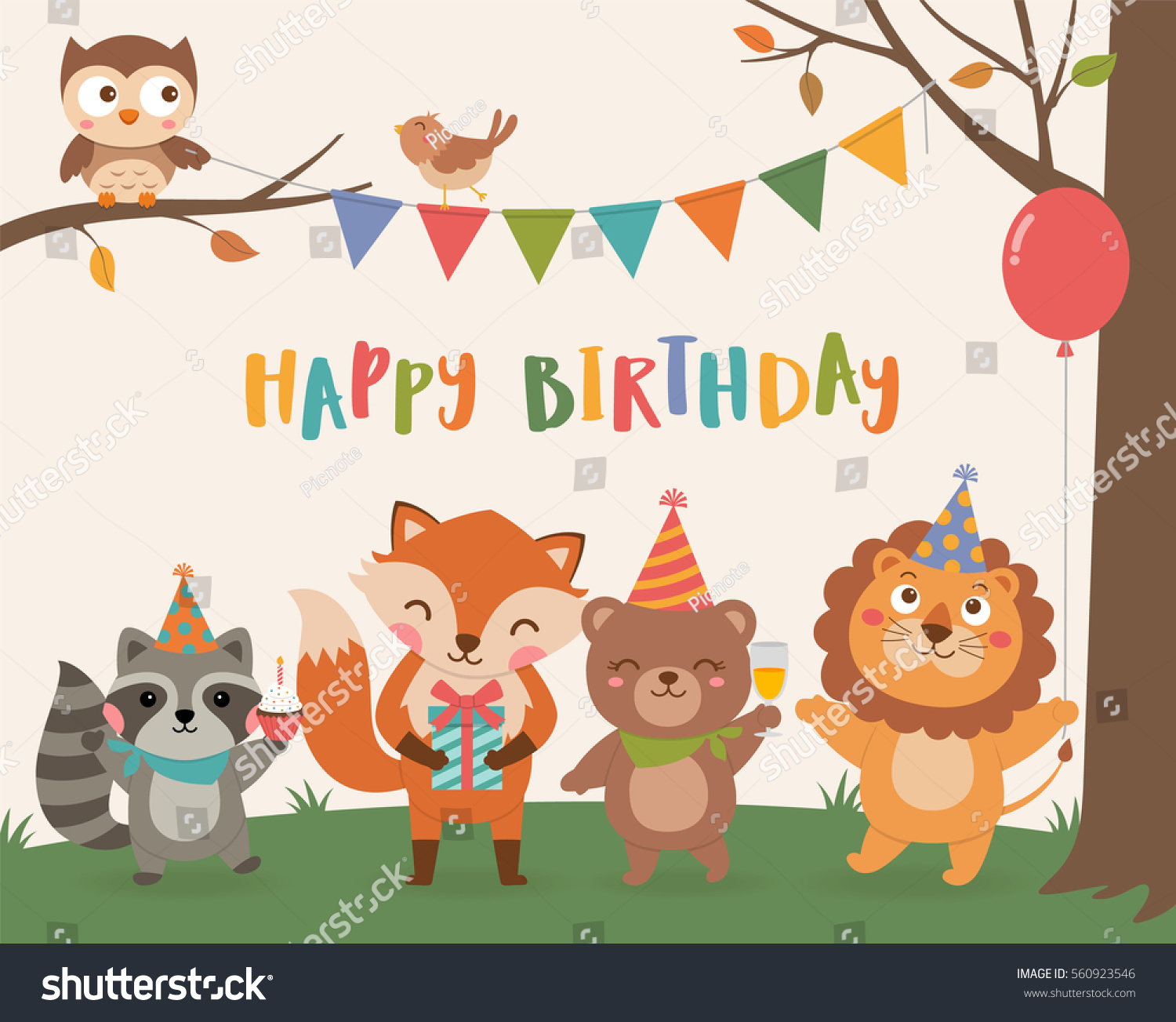 Cute Wildlife Animals Cartoon Illustration Birthday Stock Vector