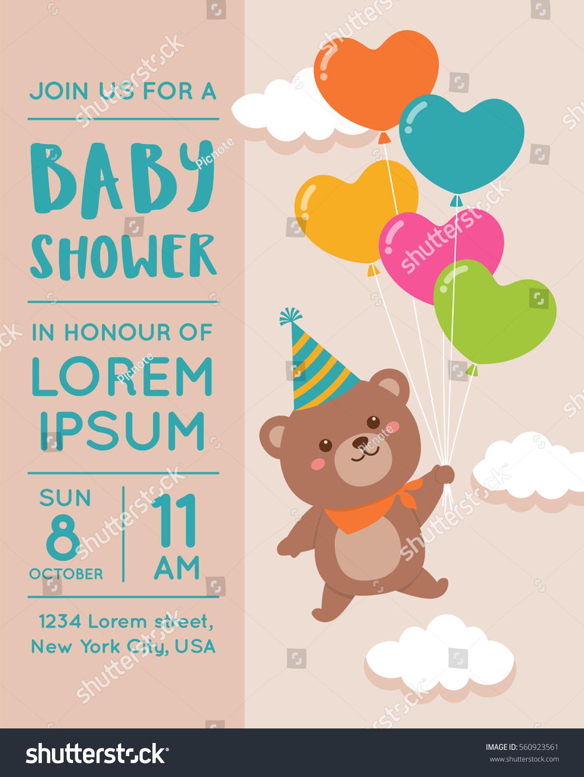 Cute Bear Balloon Illustration Baby Shower Wektorowa