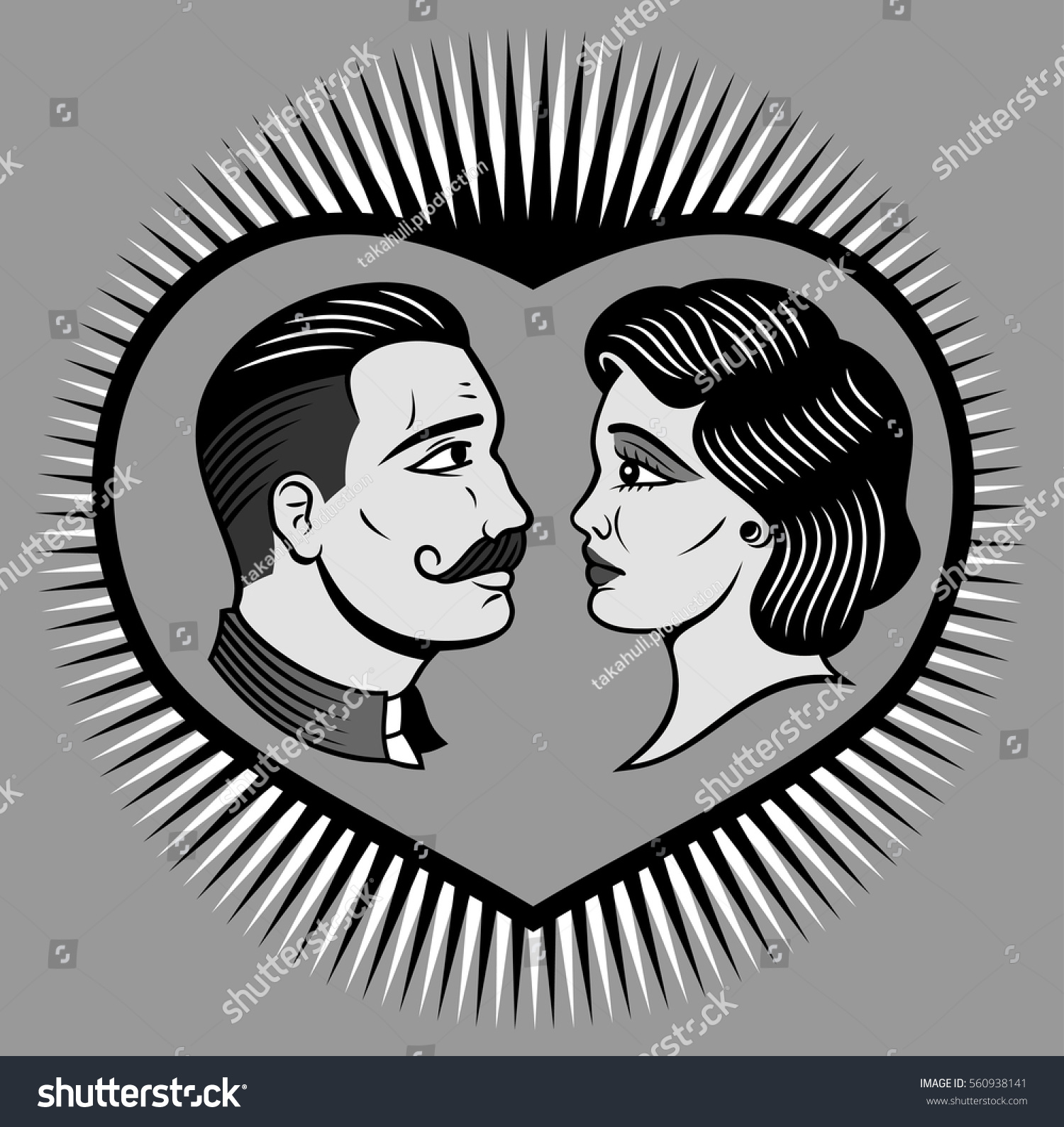 Portrait Man Woman Made Style Old Stock Vector Royalty Free