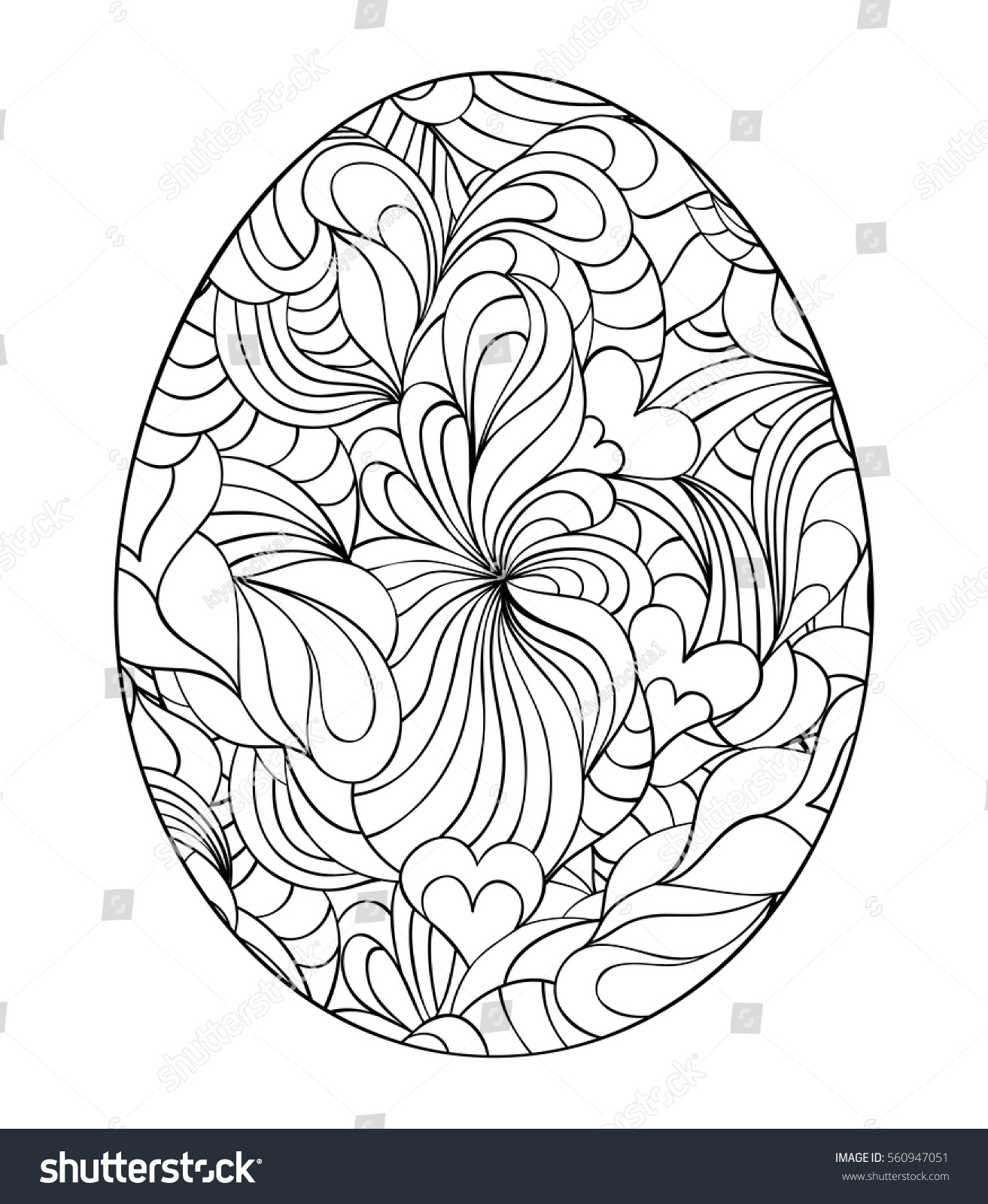 Floral easter egg on white backgroundcoloring stock vector for Background coloring pages