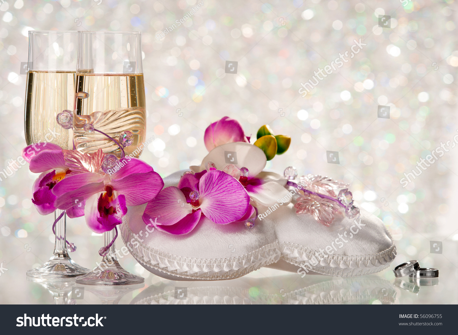 Two Glasses Champagne Pillow Wedding Rings Stock Photo (Safe to Use ...