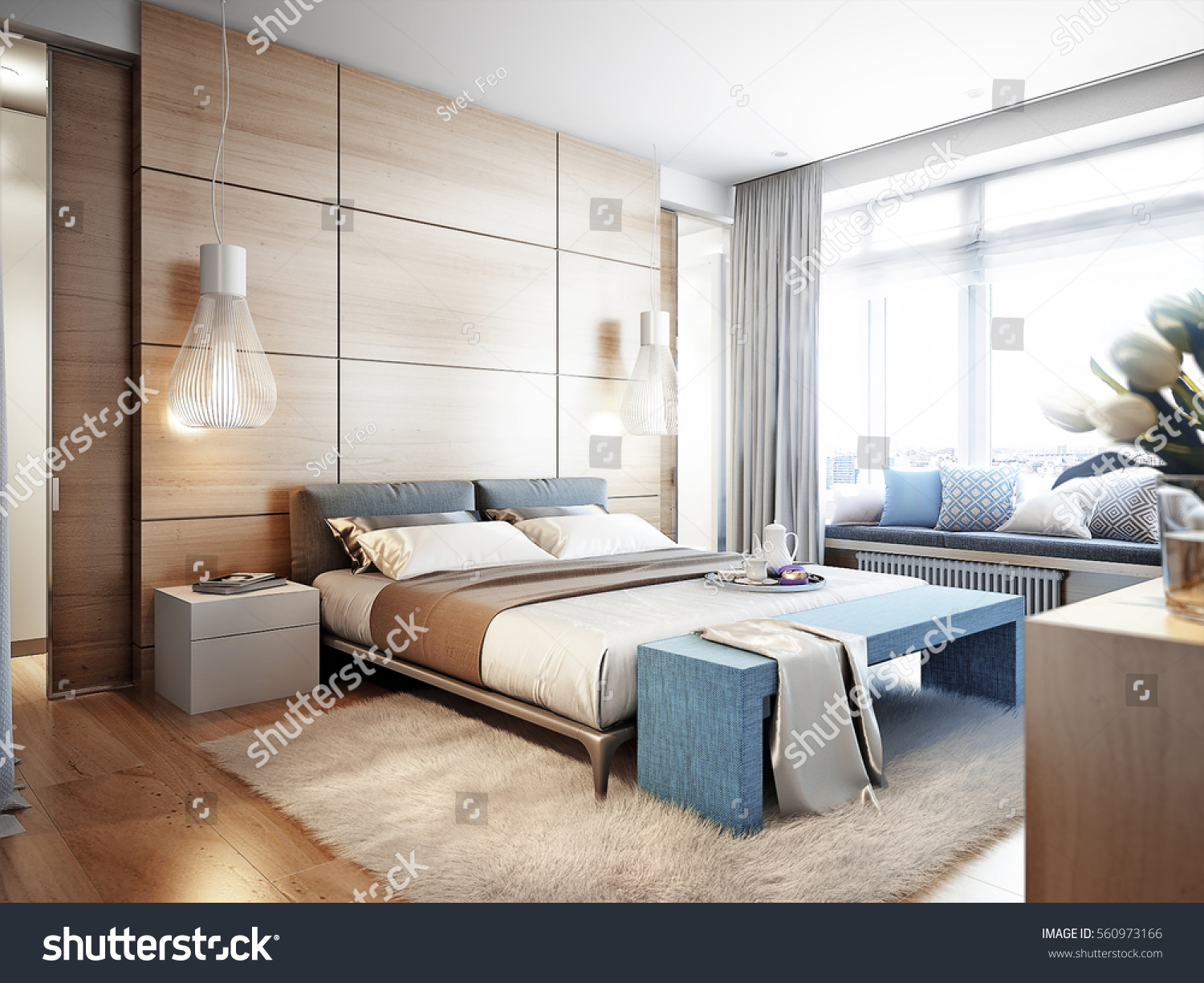 Modern window sill - Bright And Cozy Modern Bedroom With Dressing Room Large Window And Broad Window Sill For