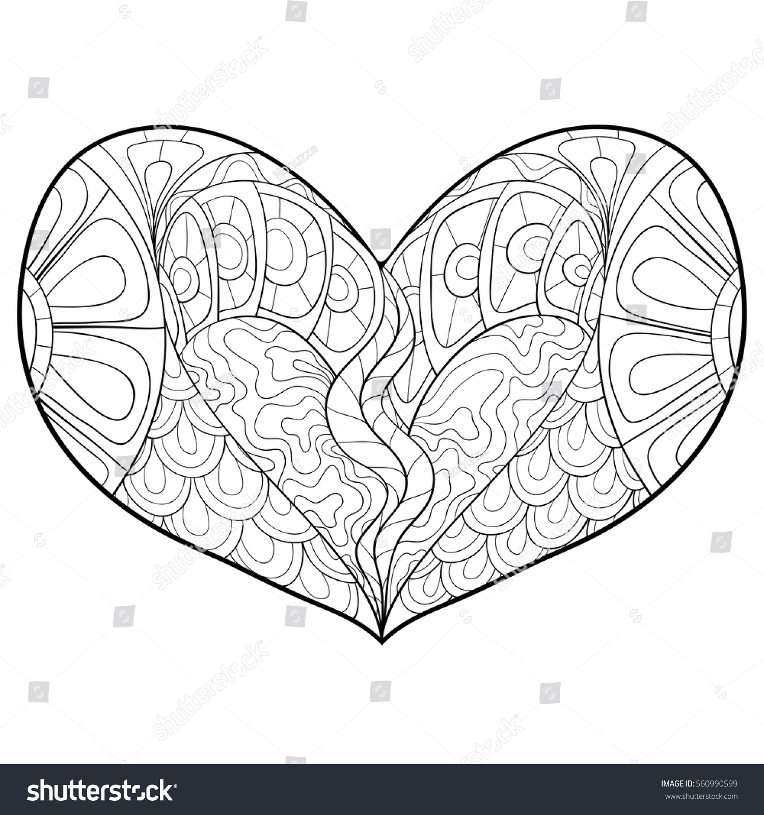 Adult Coloring Book Heart Art Stock Vector (Royalty Free) 560990599 ...