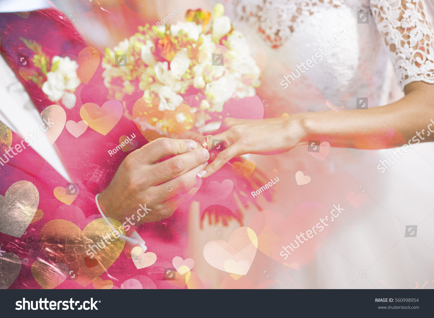 Valentine Background Groom Puts Wedding Ring Stock Photo & Image ...