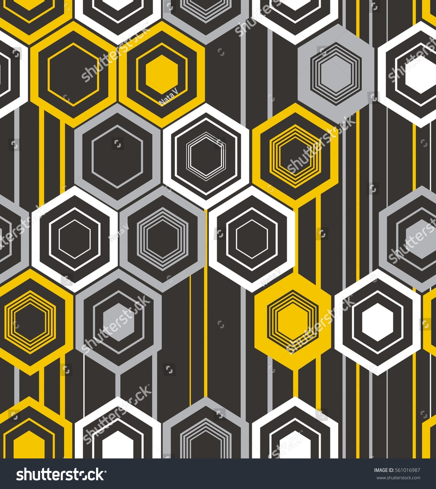 Abstract Texture Of Hexagons In Black, Yellow, White And Gray