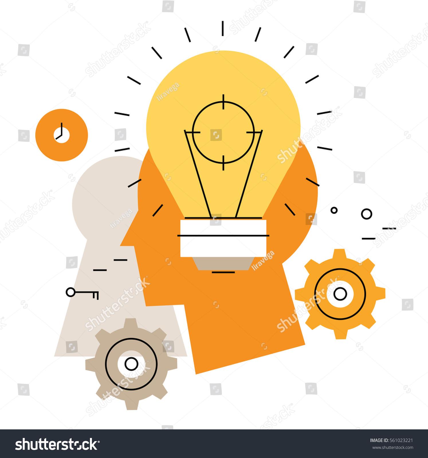 Brainstorming Flat Line Business Vector Illustration Stock