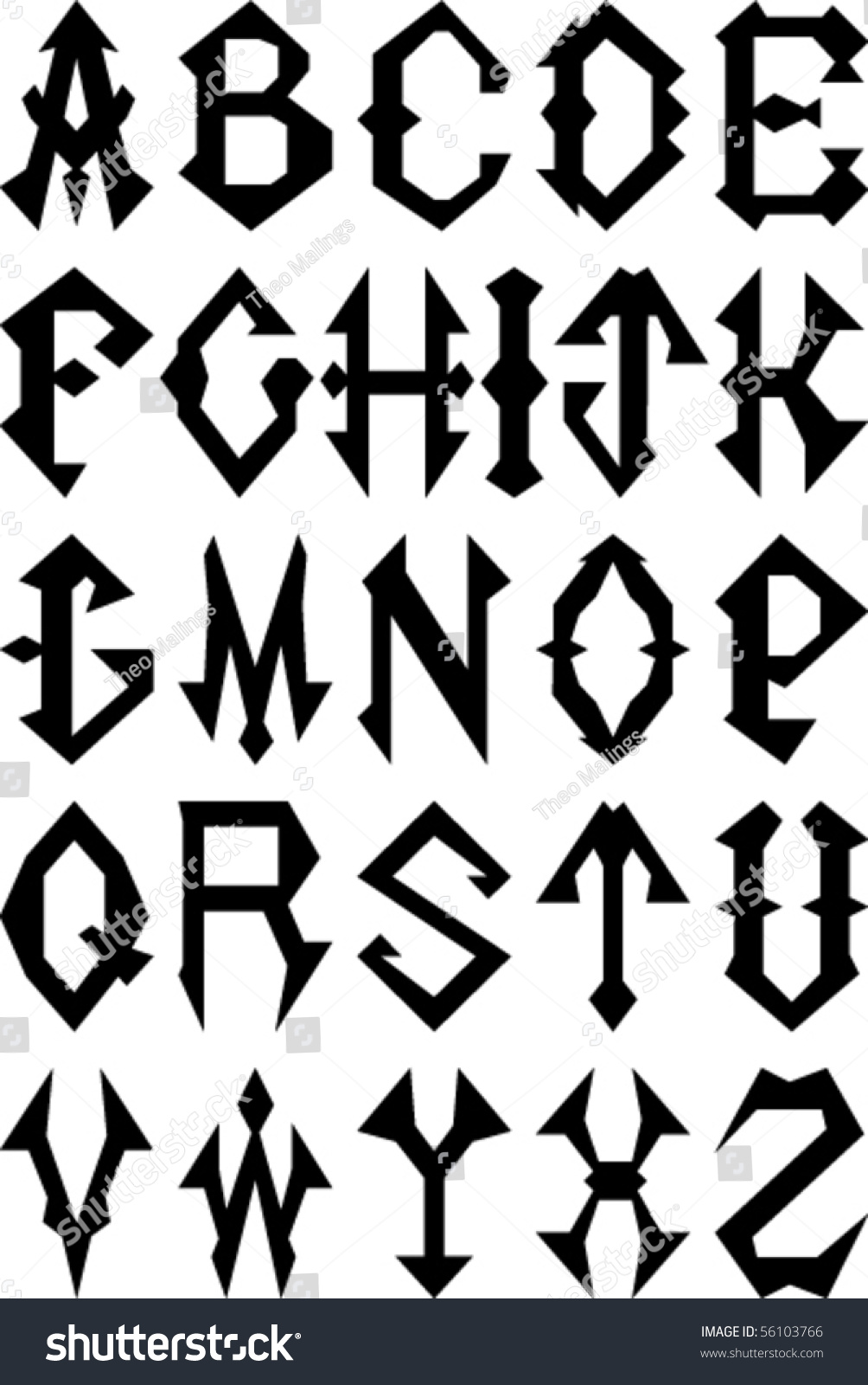 Vector set gothic style alphabet letters stock