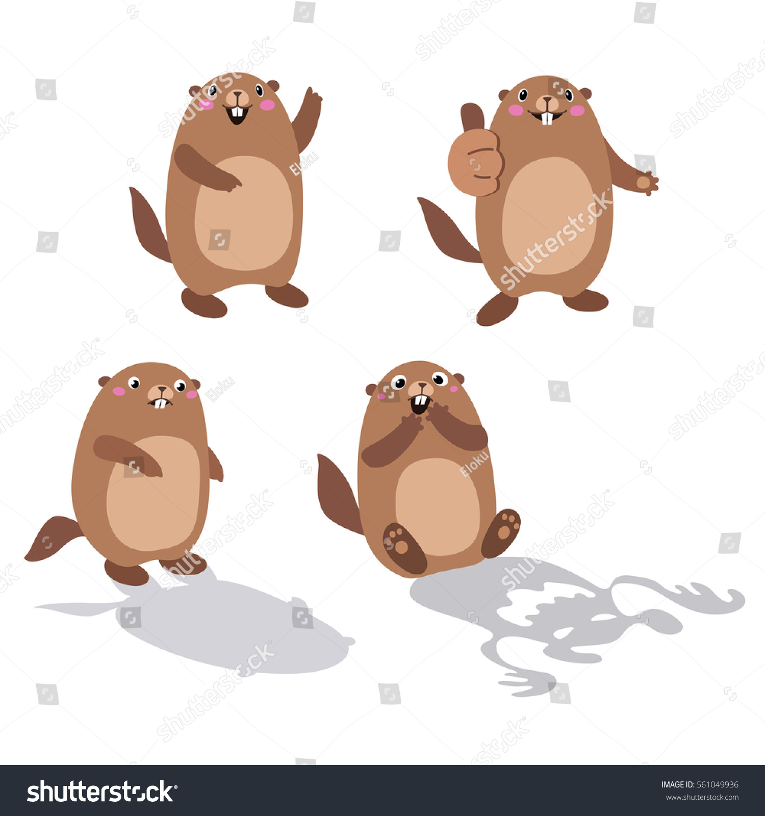vector set groundhog his shadow without stock vector 561049936