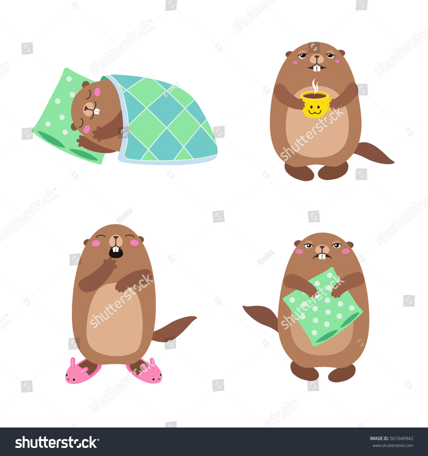 vector set groundhog sleeping waking up stock vector 561049942