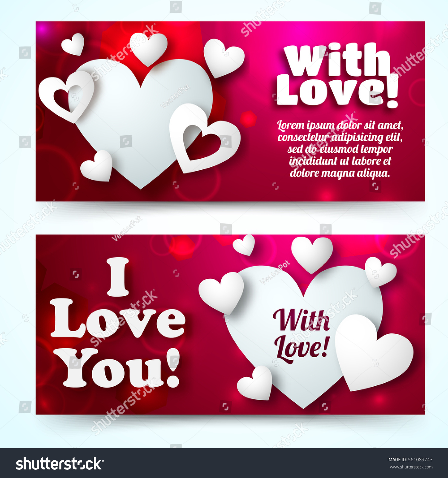 Happy Valentines Day Horizontal Banners Greeting Stock Vector