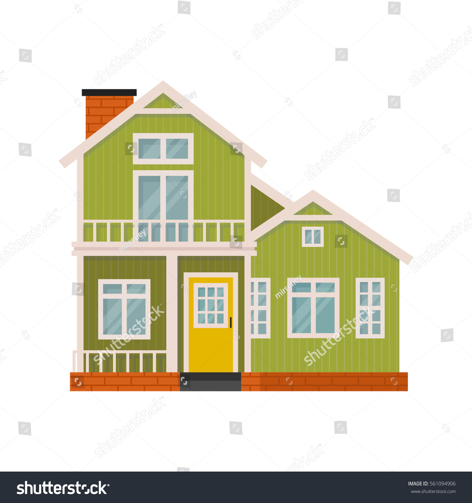 House design cartoon - Illustration Of Cute Cartoon House Facade Simple Colorful House In Flat Style Little Green