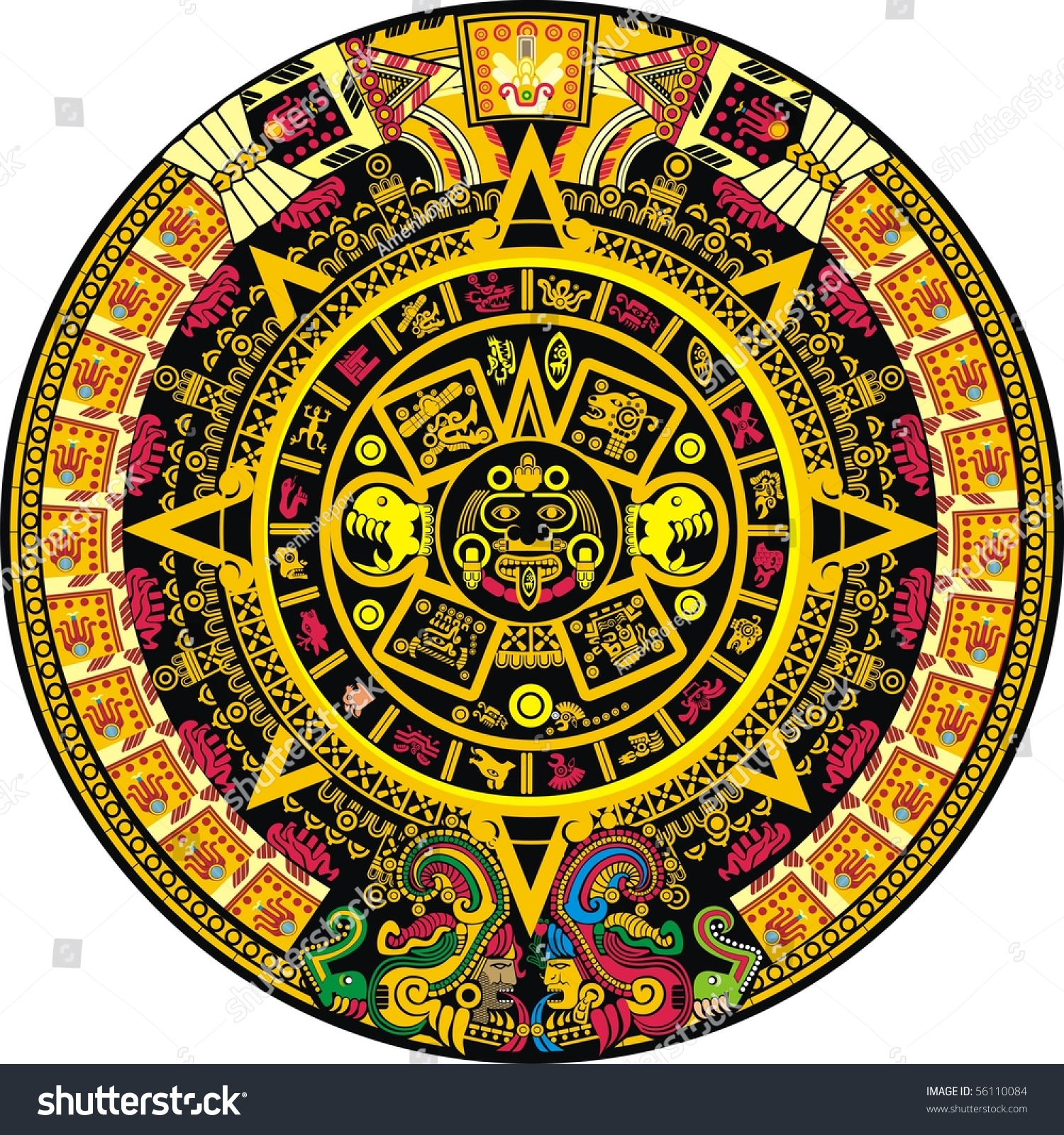 Aztec Calendar Illustration : Aztec calendar color stock vector shutterstock