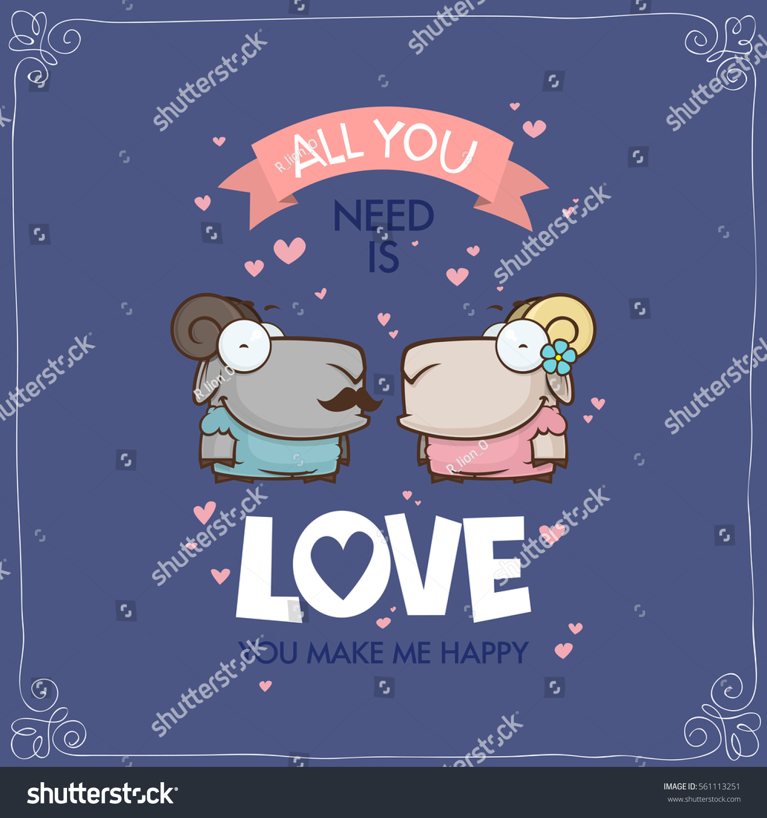Romantic greeting card funny animal characters stock vector romantic greeting card with funny animal characters kristyandbryce Choice Image