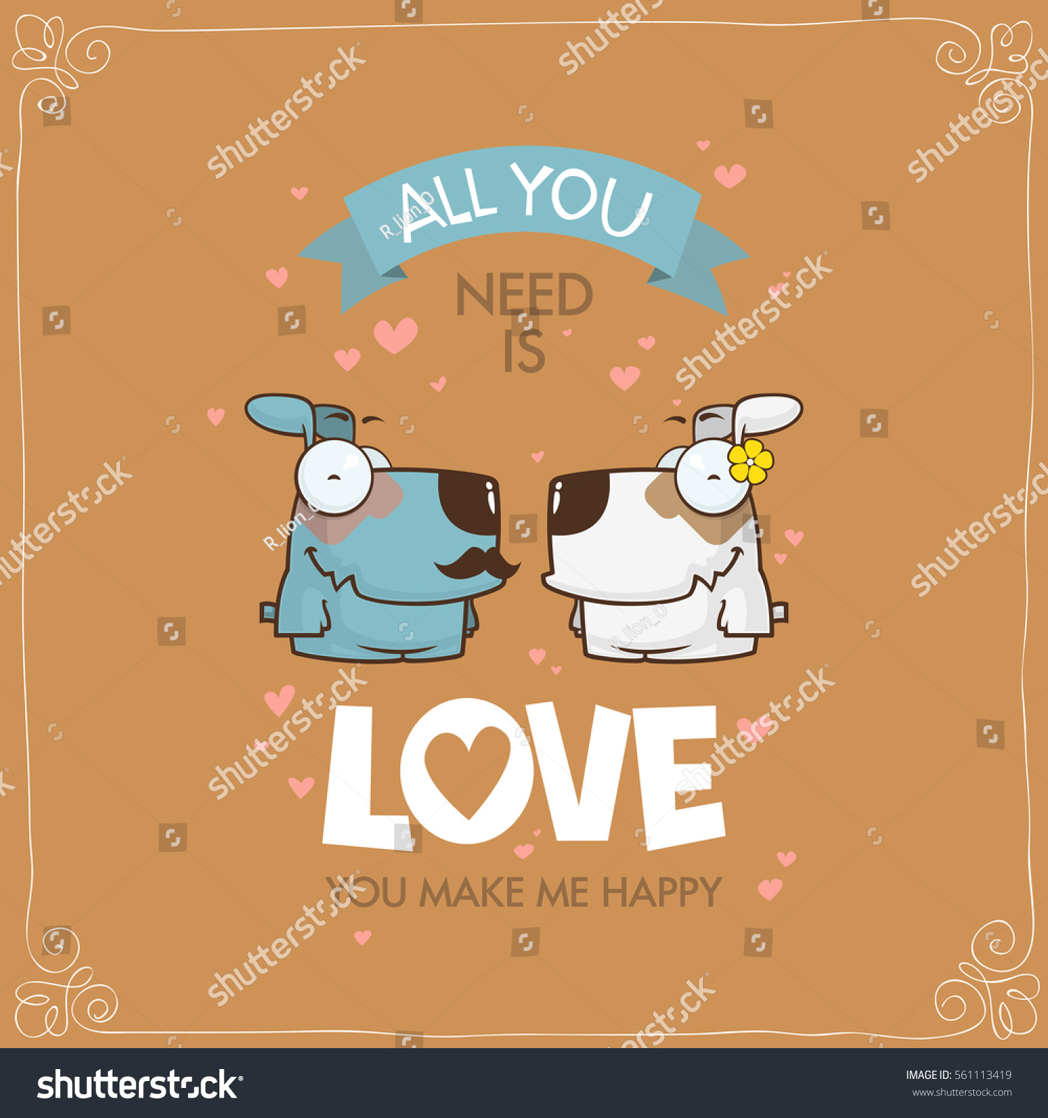 Romantic Greeting Card Funny Animal Characters Stock Vector