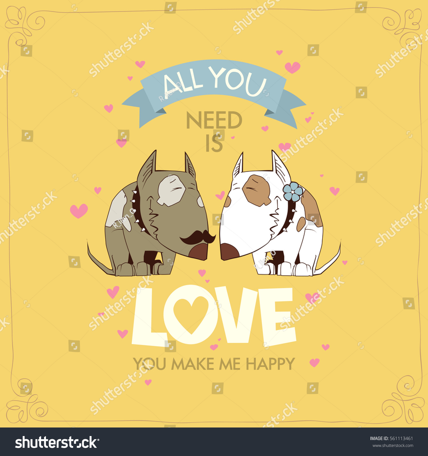 Romantic greeting card funny animal characters stock vector romantic greeting card with funny animal characters kristyandbryce Gallery