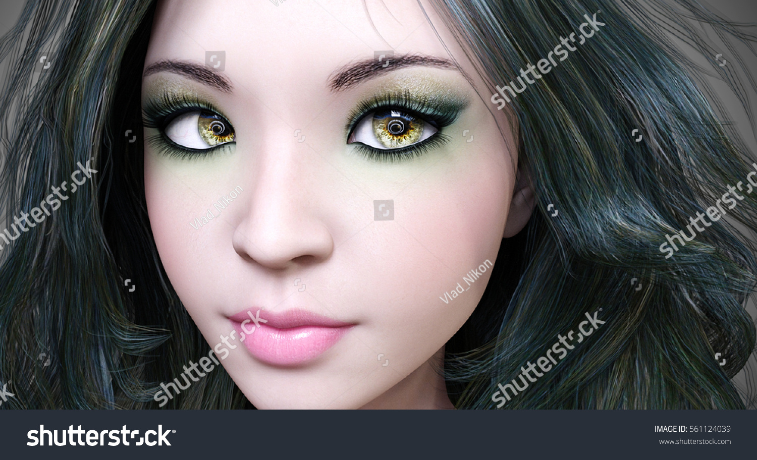 Portrait beautiful young girl with green eyes and red lips. Soft skin. Dark hair