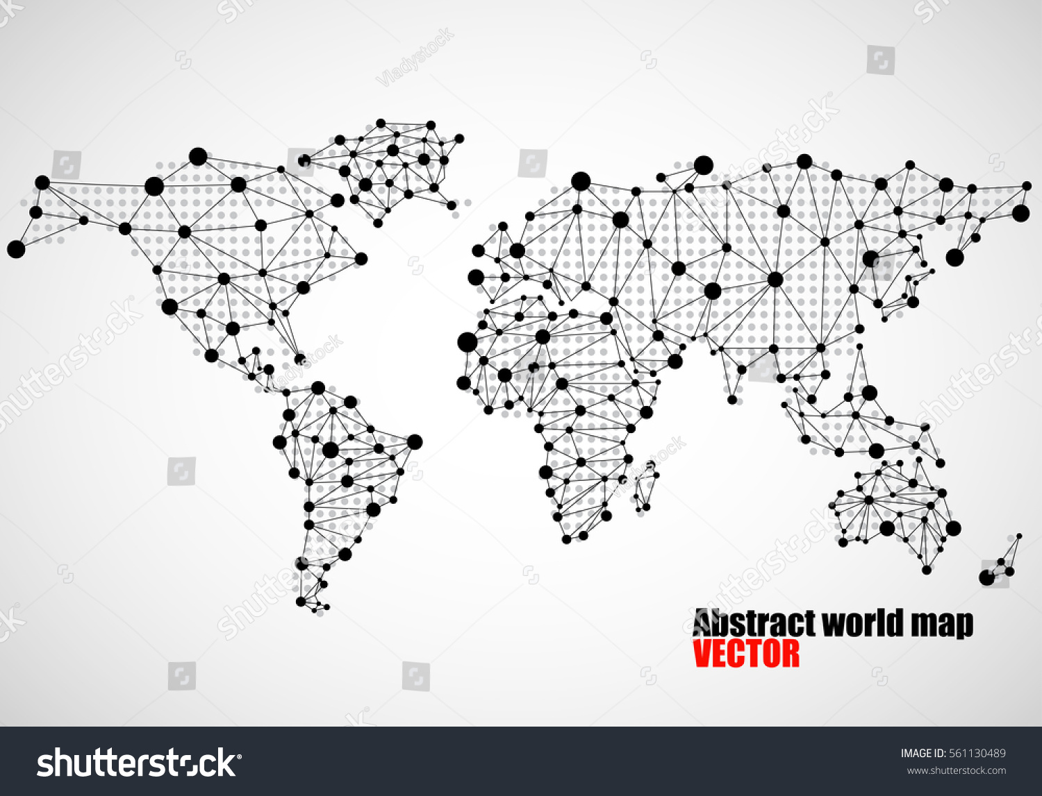 Abstract World Map Dots Line Vector Stock Vector Royalty Free