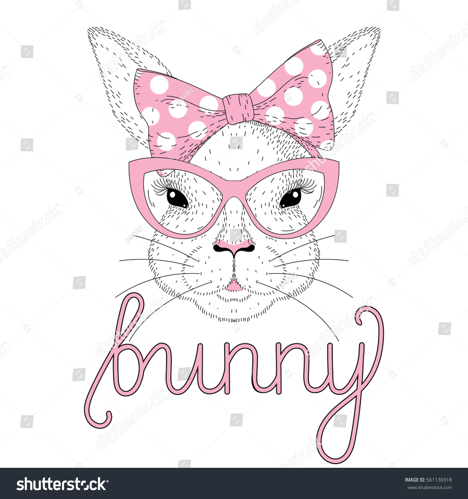 Vector Cute Bunny Girl Portrait Pink Stock Vector