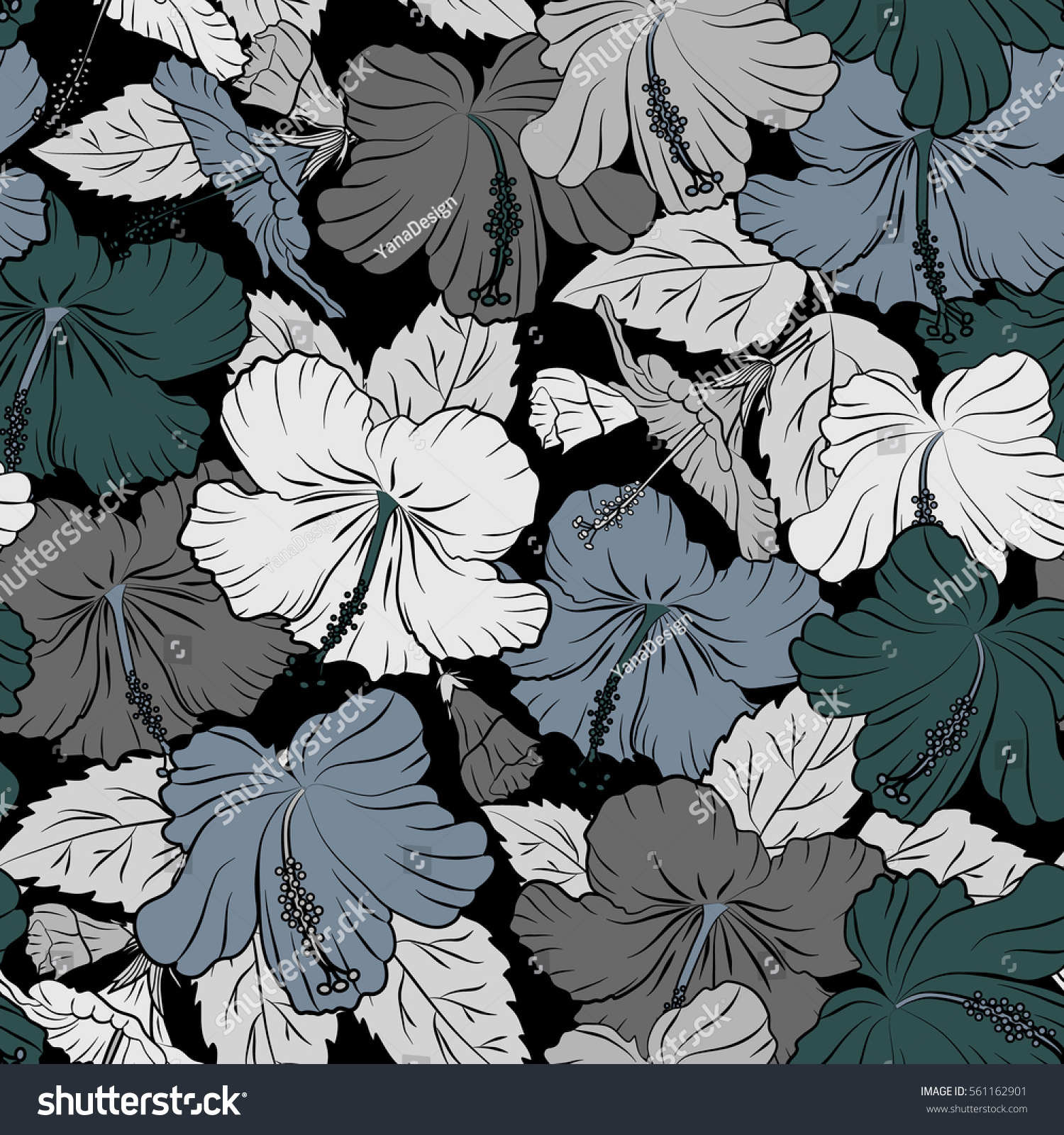 Summer Hawaiian Seamless Pattern With Tropical Plants And Hibiscus