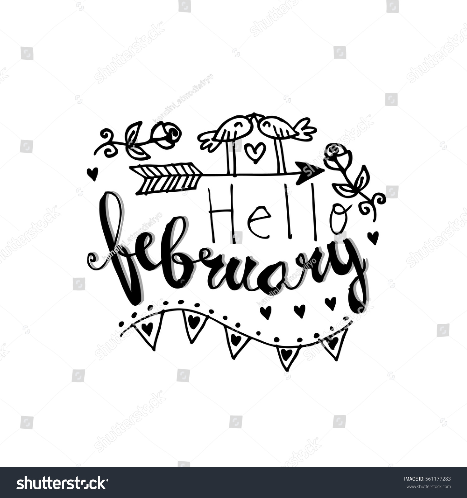 Hand Drawn Calligraphy Text Hello February Stock Vector
