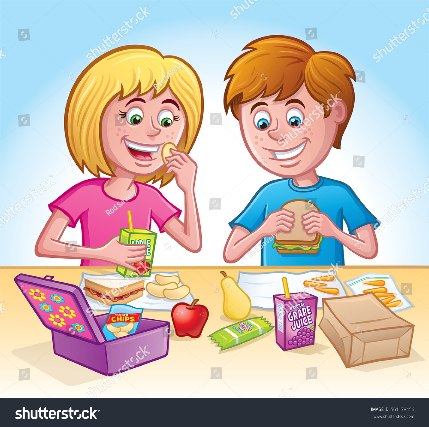 Girl And Boy Eating Lunch At School