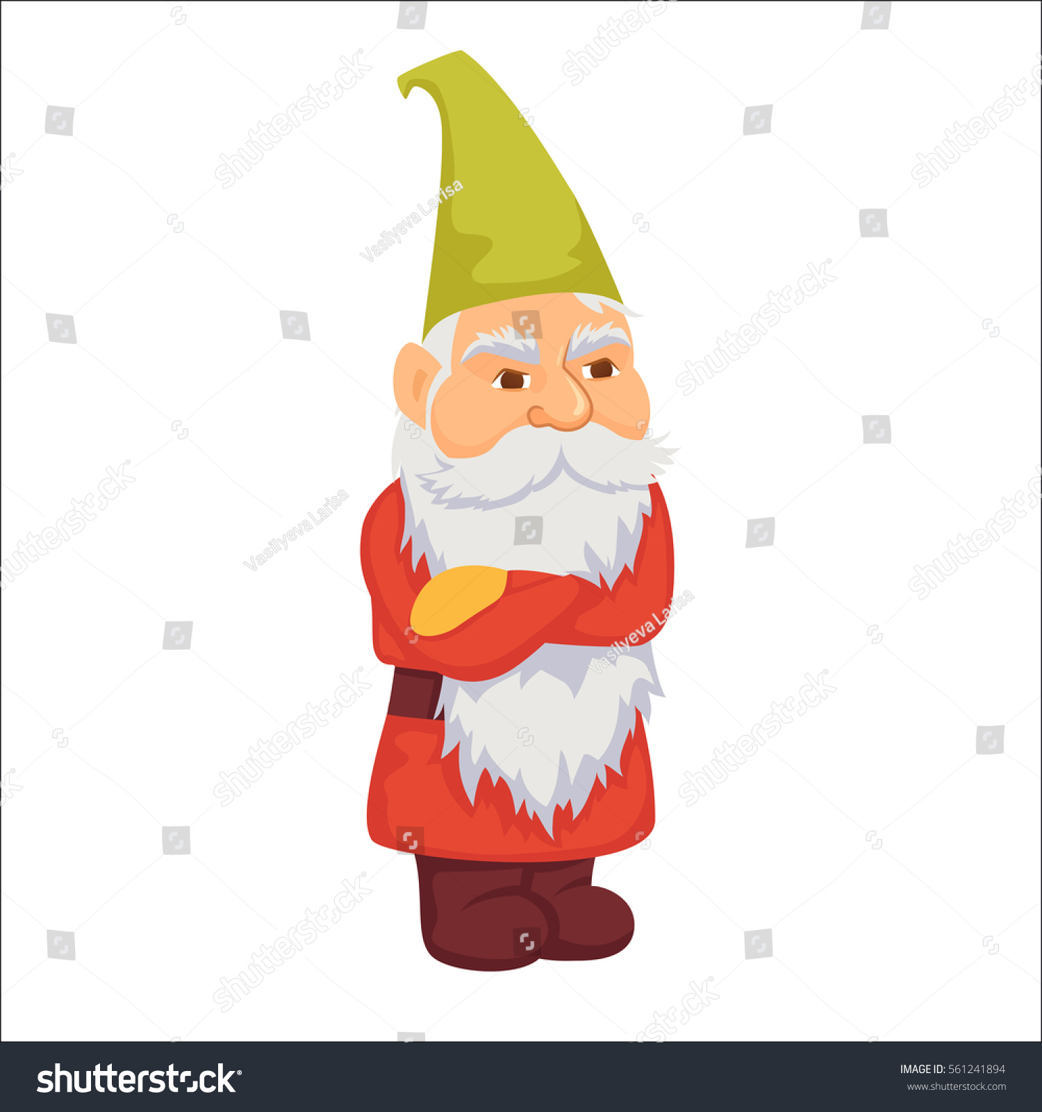 Gnomes Angry Dwarf Fairy Tale Fantastic Stock Vector