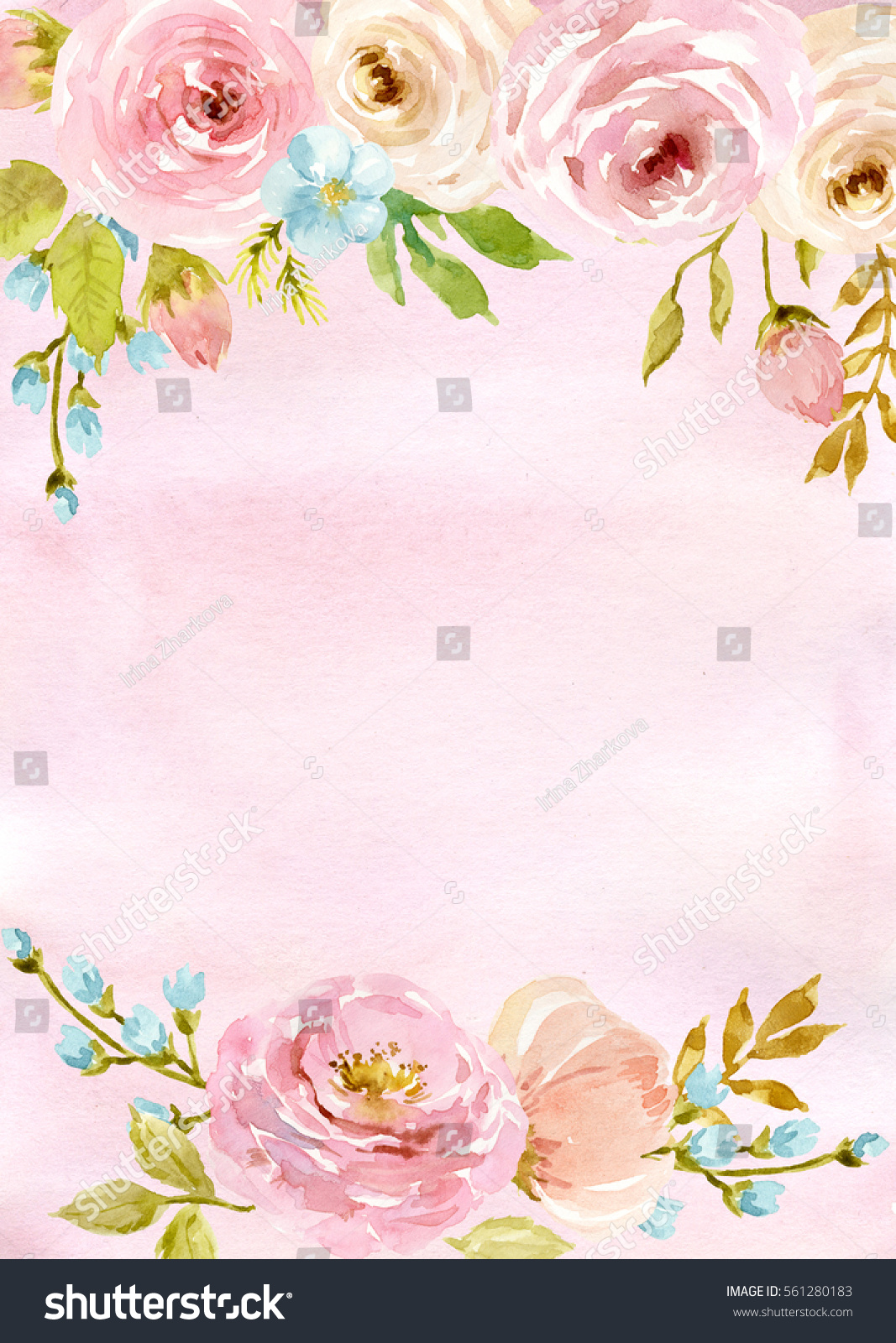 Finest Painted Watercolor Composition Flowers Pastel Colors Stock  AW98
