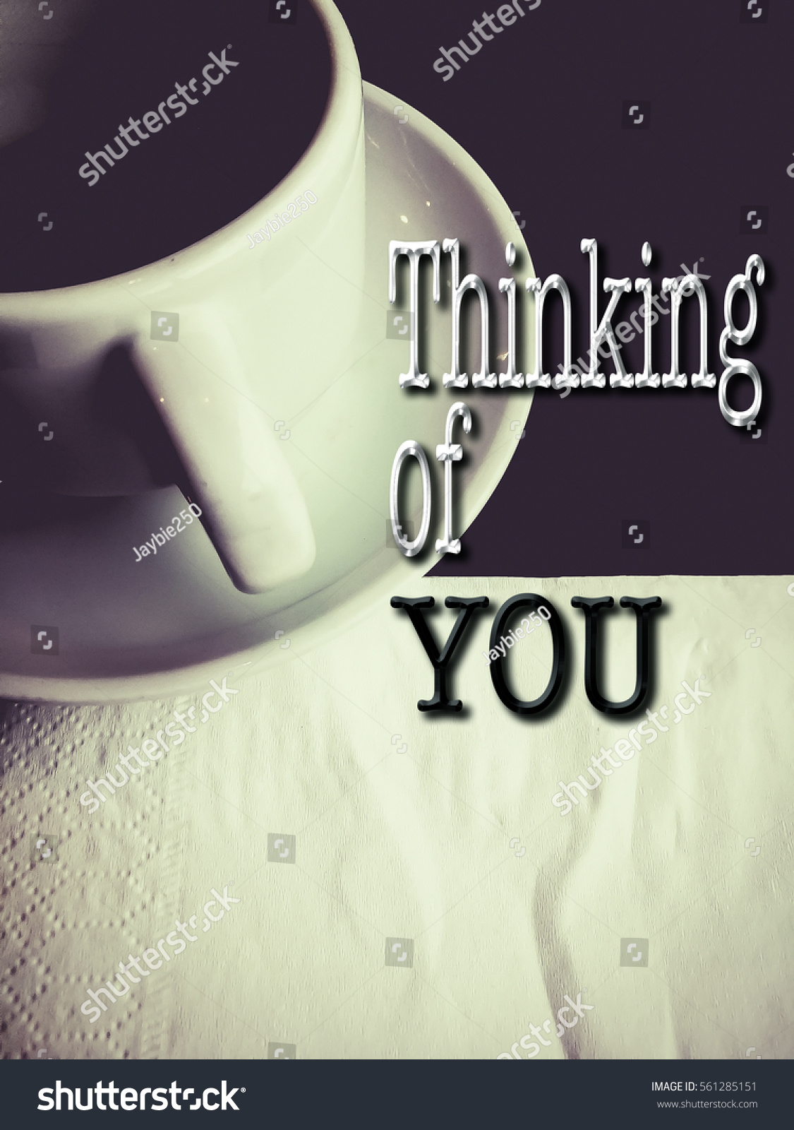Words Thinking You Cup Coffee Background Stock Photo Edit Now