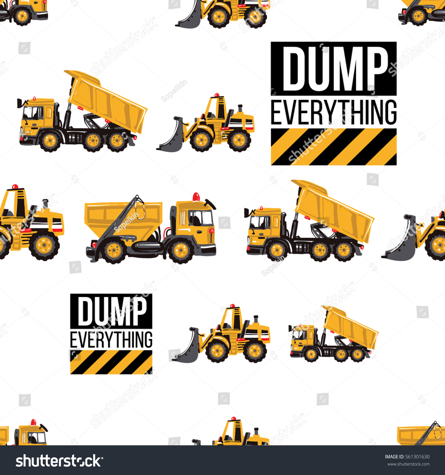 Seamless Pattern Bulldozer Garbage Truck Dumper Stock Vector ...