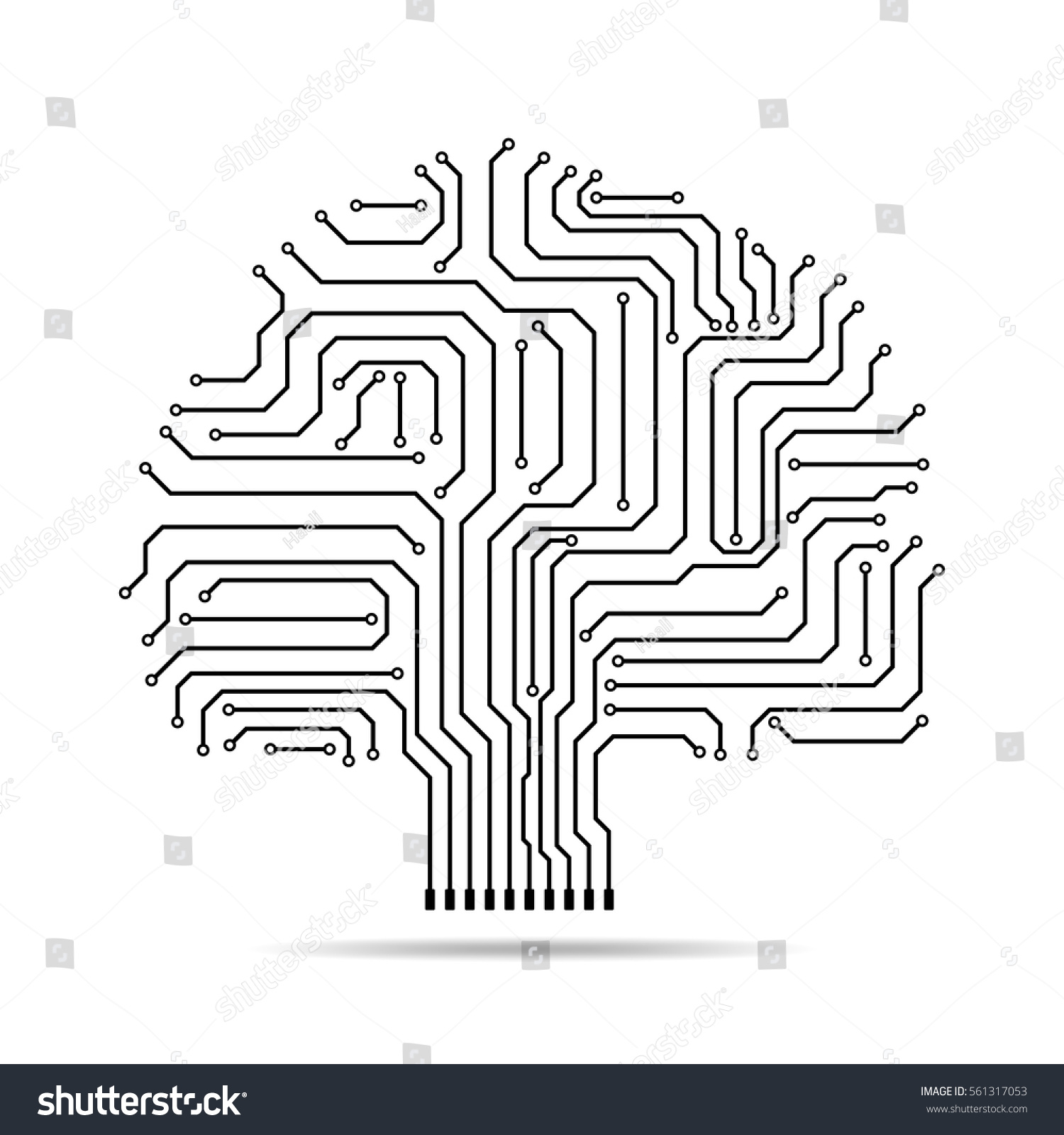 Circuit Board Tree Icon Abstract Line Stock Vector Royalty Free Designing A And Getting It Made Silhouette Isolated Illustration Crown Of