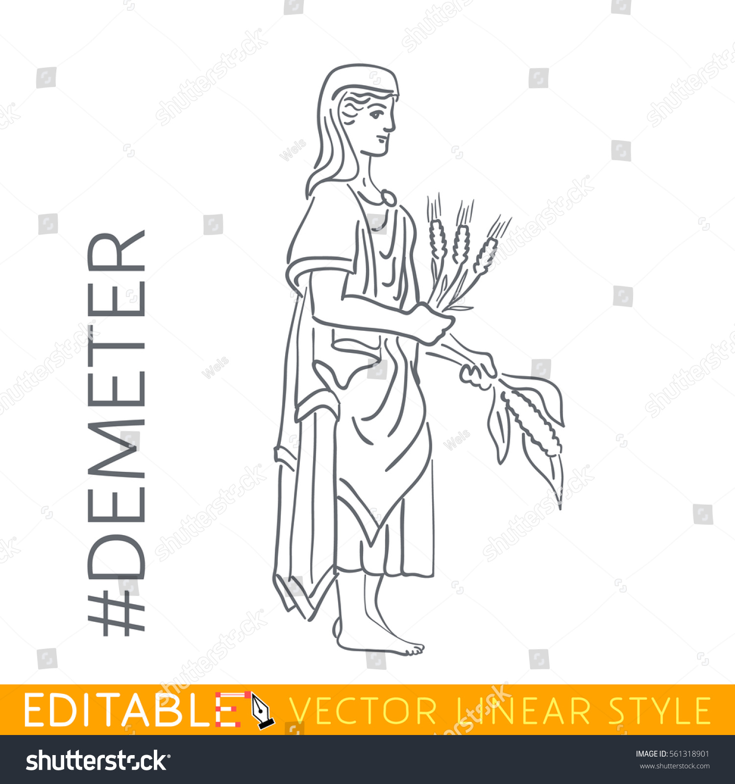 Demeter goddess grain agriculture harvest growth stock vector demeter goddess of grain agriculture harvest growth and nourishment series buycottarizona Image collections