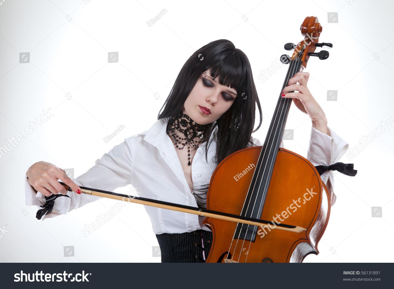 Portrait Attractive Girl Playing Cello Studio Stock Photo ...
