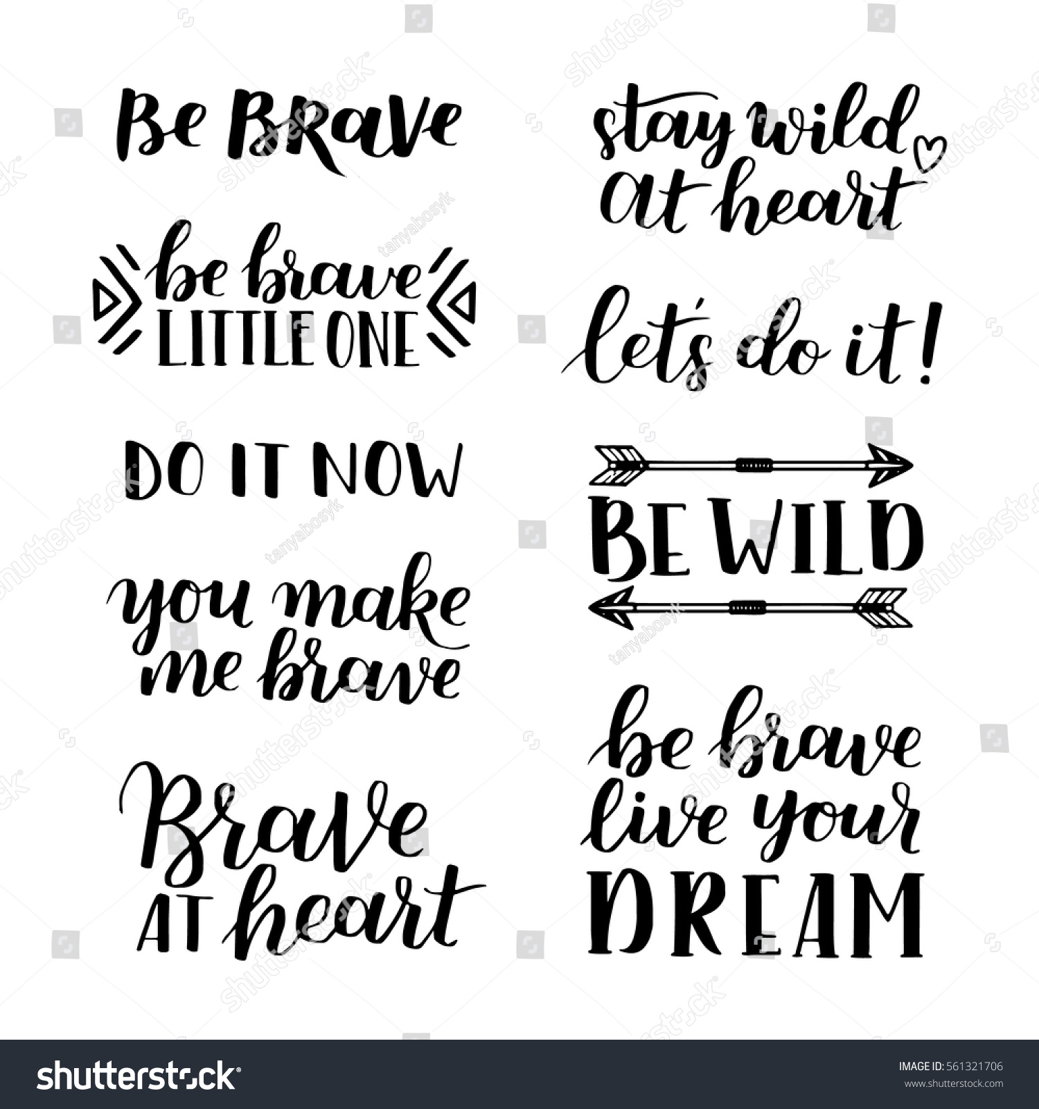 Quotes About Courage Set Hand Drawn Quotes About Courage Stock Vector 561321706
