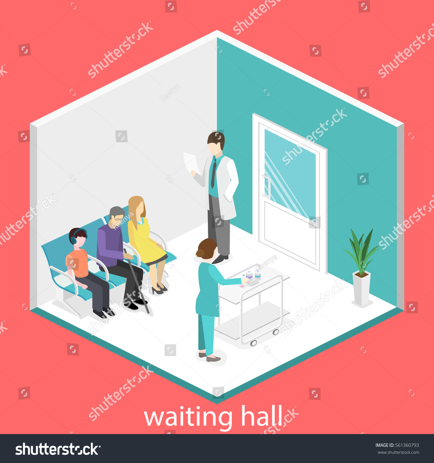 Waiting Room Hospital Visitors Sit Stock Vector