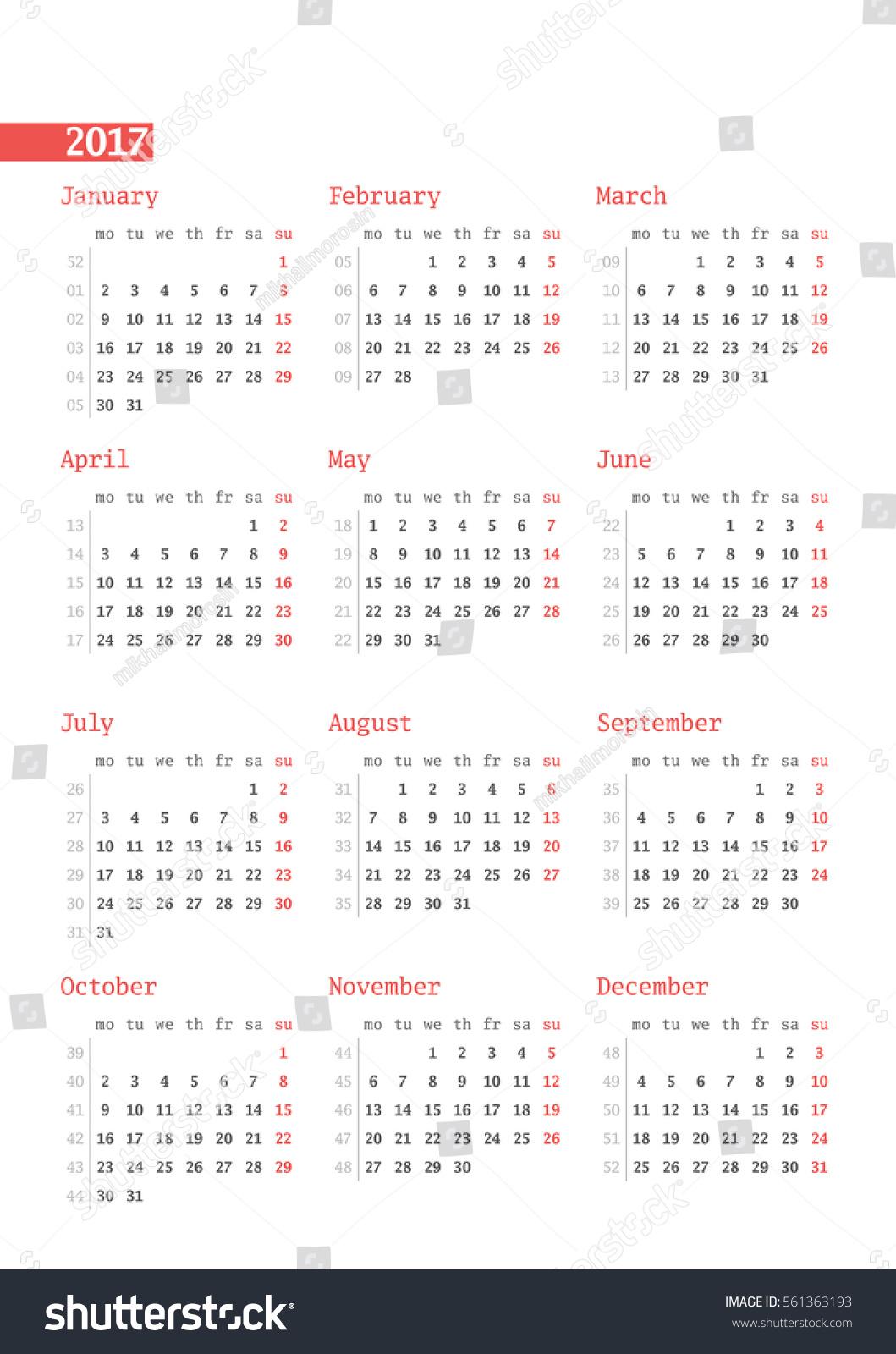 calendar with week numbers 2017