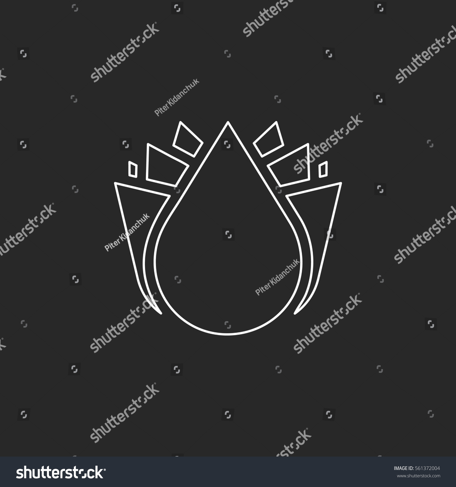 Abstract Lotus Flower Symbol Sign Line Stock Vector 561372004