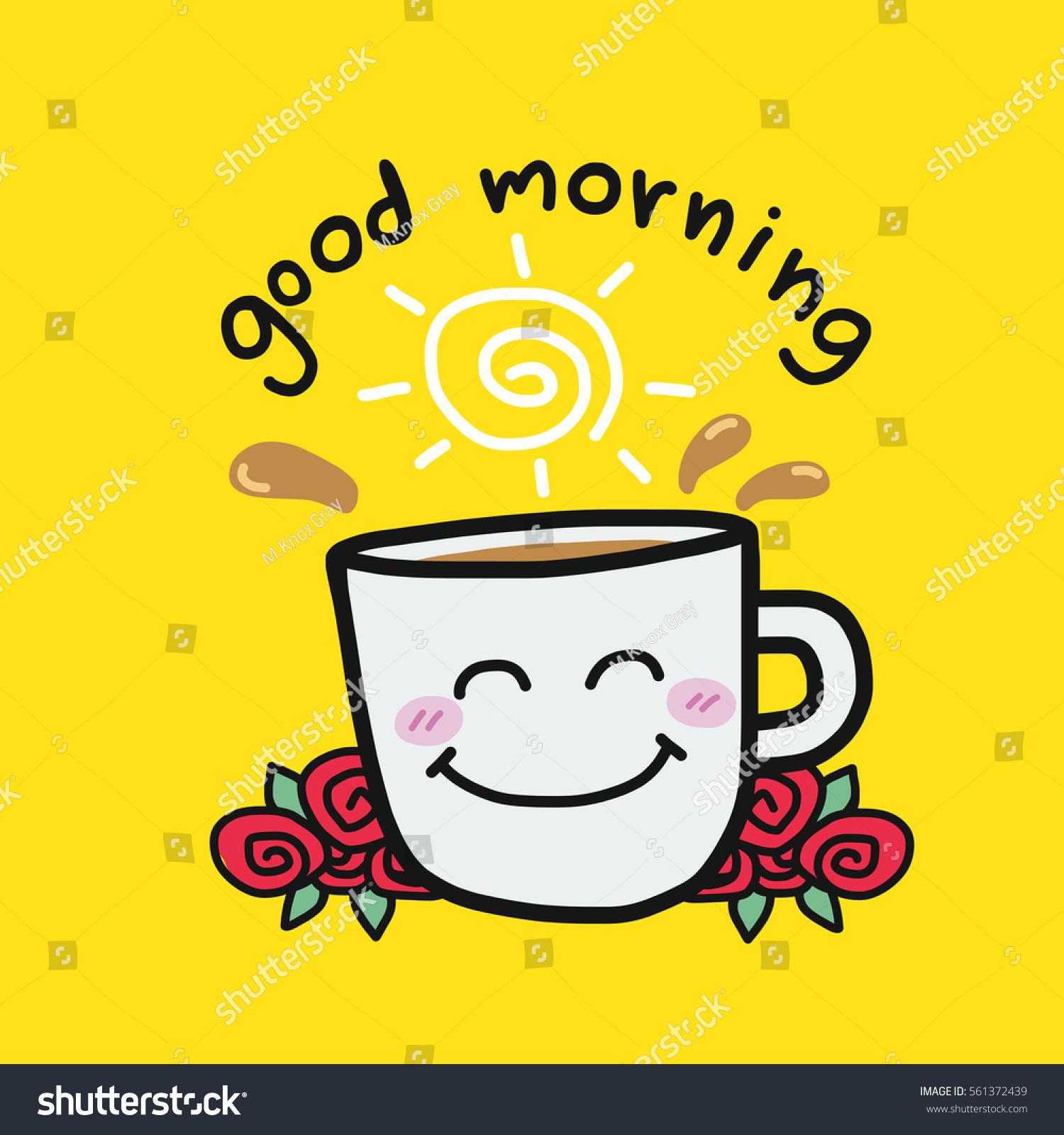 Good Morning Coffee Cup Roses Cartoon Stock Vektorgrafik Lizenzfrei