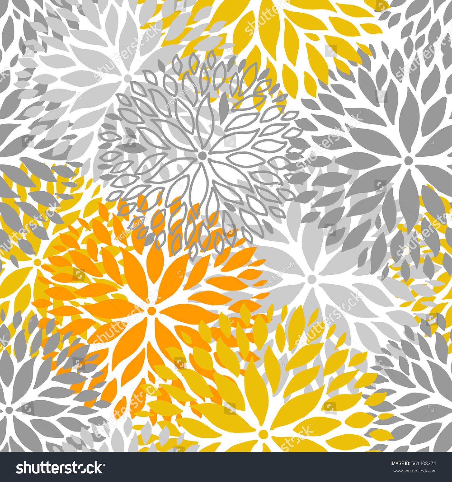 Orange Grey Flower Seamless Pattern Chrysanthemum Stock Vector