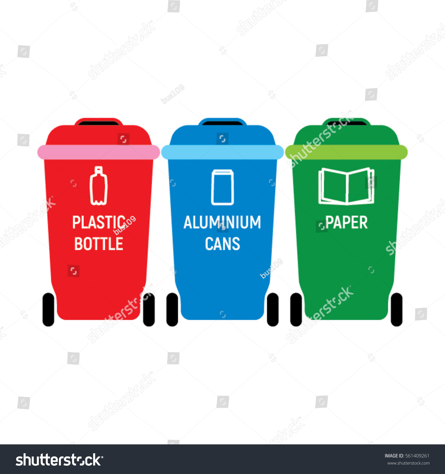 Three Plastic Color Recycling Containers Vector Illustration