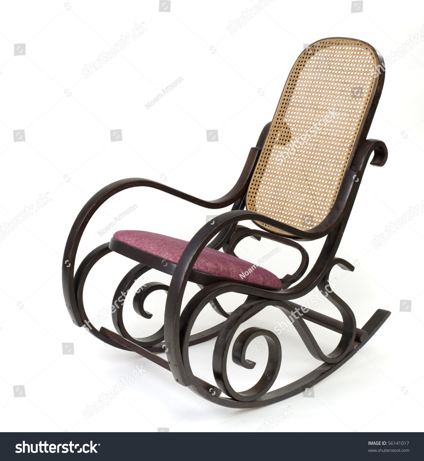 Old Rocking Chair Isolated White Stock