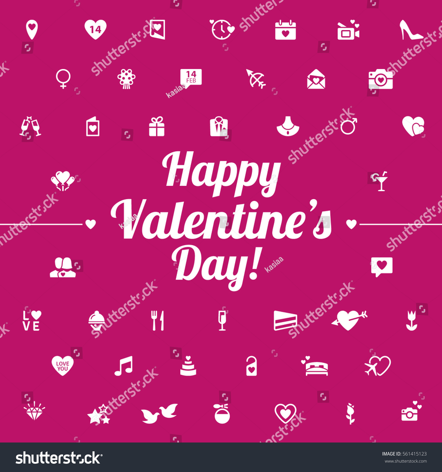 happy valentines day modern flat icons stock vector 561415123